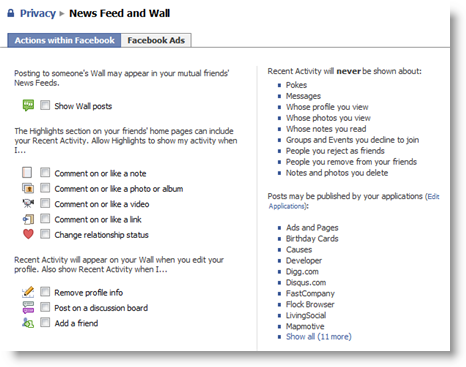 Facebook Privacy News Feed and Wall