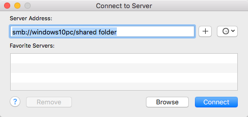 Mac Finder Connect to Server